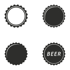 Bottle cap icon set.
