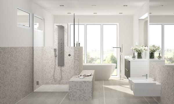 Bad Badezimmer Luxusbad freistehende Wanne