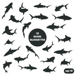 22 shark silhouettes set