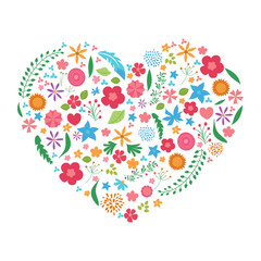 Floral pattern heart on white background
