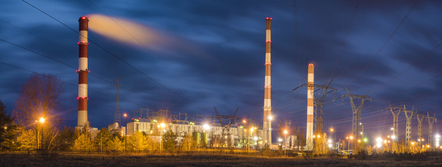 Classic coal plant, coal-fired power plant at night,panorama