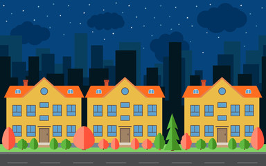 Vector night city with three cartoon houses and buildings. City space with road on flat style background concept. Summer urban landscape. Street view with cityscape on a background