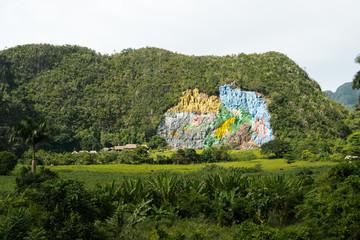 Valley Vinales with famous unusual beautiful colorful picturesque wall in the mountains area