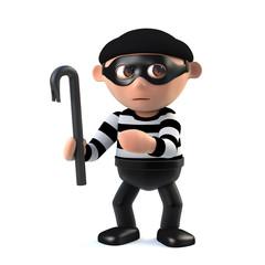 3d Funny cartoon burglar character with a crowbar