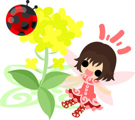 Pretty fairy and beautiful brassica and ladybug
