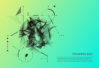 Abstract technology motion shape. black motion shape vector.