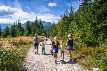 Obraz Grupa turystów na Tatrzańskim szlaku. Górski szlak z Wierchu Poroniec na Rusinową Polanę - fototapety do salonu