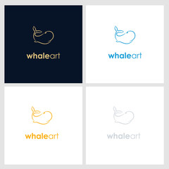 whale line company logo. wild animal logo with minimalist concept