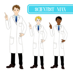 Set Handsome Scientist Man Pointing Up with Serious Face. Medical Staff Male.