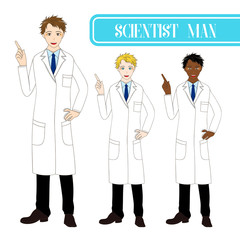 Set Handsome Scientist Man Pointing Up with Happy Face. Medical Staff Male.