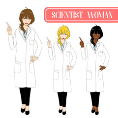 Set Cute Scientist Woman Pointing Up with Happy Face. Medical Staff Female.