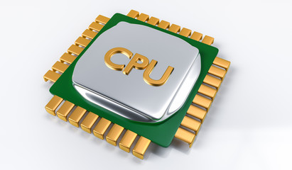 3D illustration of computer electronic  microprocessor CPU