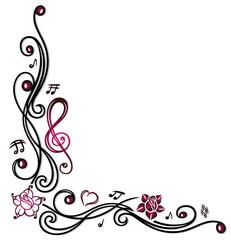 Filigrane Musik Ranke mit Musiknoten, Blumen und Notenschlüssel.