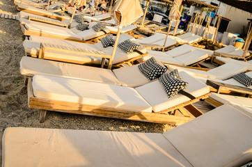 Deck chairs on the beach in Pefkochori