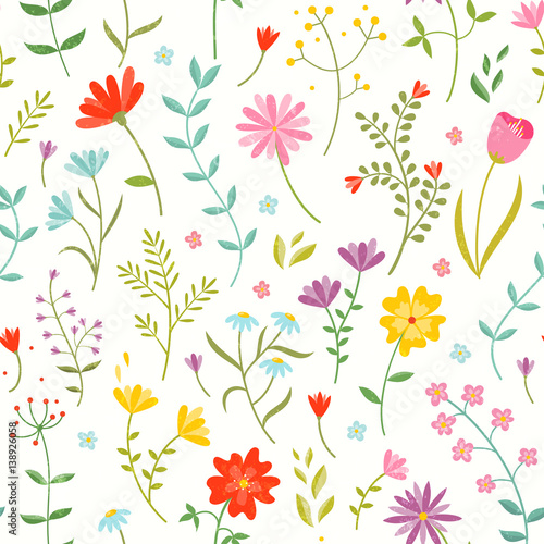 Cute Seamless Floral Pattern With Spring Flowers Stockfotos Und