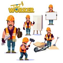 Construction Worker in action. Character design set - vector