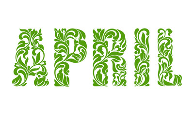APRIL. Decorative Font with swirls and floral elements isolated on a white background Wall mural