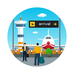 Icon Airport , View on Airplane and Control Tower through the Window from a Waiting Room with People , Scoreboard Arrivals at Airport, Travel Concept, Flat Design, Vector Illustration