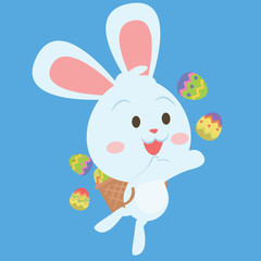 Happy easter egg bunny character