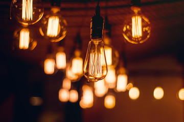 Rustic  light bulbs hanging