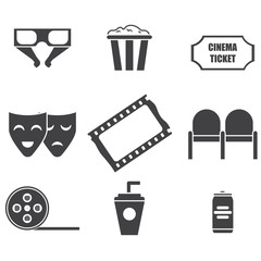 set of icons movie theater, masks, camera, seats, soda, film, ticket,glasses, popcorn, vector image, plane design, outline style,black-and-white