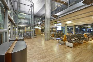International airport waiting area. Terminal indoor boarding zone