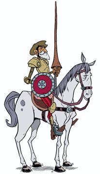 Don Quixote / Cartoon illustration of Don Quixote of the Mancha isolated on white background.