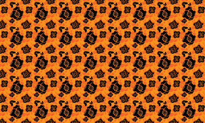Seamless pattern with abstract floral elements. Repetitive orange background vector.