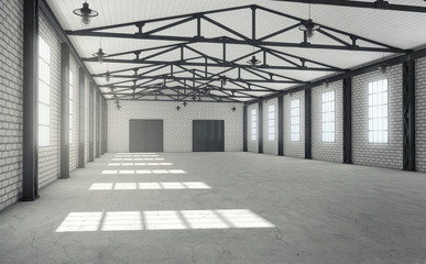 Clean empty warehouse interior
