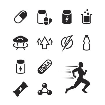 Sport supplements icons set
