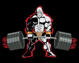 Bodybuilders Are Bigger. This Is Powerlifting. Powerlifting Training. Bodybuilder Ape Mascot Character With A Barbell In His Hands. Fight Brutal Theme. Powerlifter Poster. T-Shirt Design.