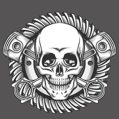 Skull with Pistons Against Motorcycle Gear Emblem