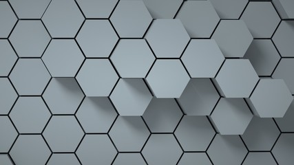 Abstract gray hexagonal background, 3 d render