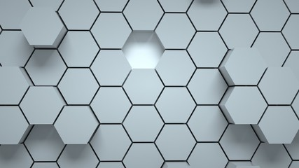 Abstract gray hexagonal background, 3 d render