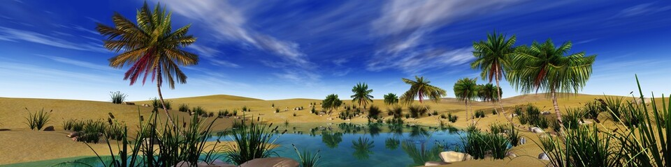 Beautiful oasis in the desert sand, palm trees over the water, 3d rendering