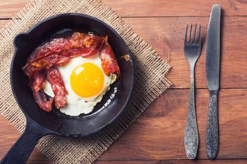 Foto op Canvas Gebakken Eieren pan with fried eggs