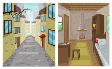 Digital vector abstract background set with a stone street and road between houses, urban, interior, flat triangle style