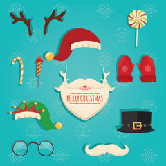 Modern vector illustration of Christmas accessories. Beard of Santa Claus. Glasses, hats, lips, mustaches, masks - for design, photo booth in vector