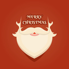Modern vector illustration of Santa Claus beard. Christmas background. Xmas greeting template design with Happy New Year.