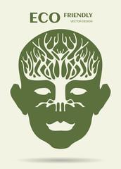 human head and tree shape look like a brain, ecology concept