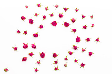 floral pattern of roses on a white background.