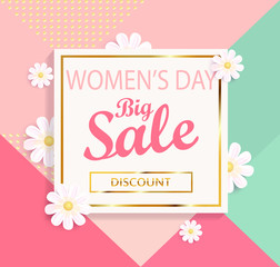 Women's day big sale geometric background.