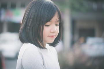 little asian girl having fun