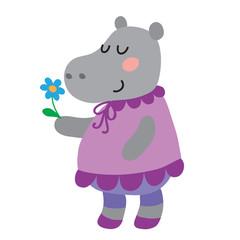 Cute cartoon hippopotamus