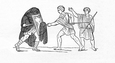 Roman gladiators - secutor (pursuer) fight with retiarius (net fighter)  (from Meyers Lexikon, 1895, 7/607)