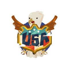 American eagle with USA badge shield. freedom concept - vector illustration
