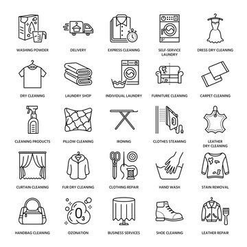 Dry cleaning, laundry line icons. Launderette service equipment, washing machine, clothing shoe and leaher repair, garment ironing and steaming. Washing thin linear signs for self-service laundry.