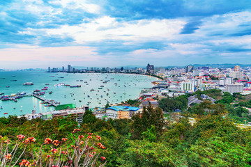 View of Pattaya city in the evening