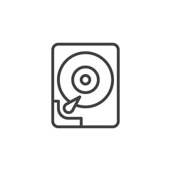 Hard disk drive line icon, outline vector sign, linear style pictogram isolated on white. HDD symbol, logo illustration. Editable stroke. Pixel perfect