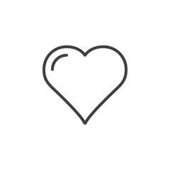 Heart, favorite line icon, outline vector sign, linear style pictogram isolated on white. Love symbol, logo illustration. Editable stroke. Pixel perfect